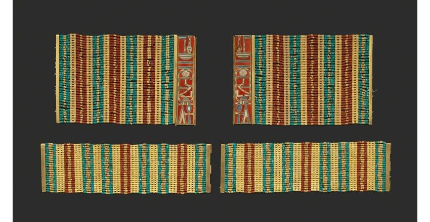 Золотой браслет из бусин сердолика и бирюзы времен 12 династии